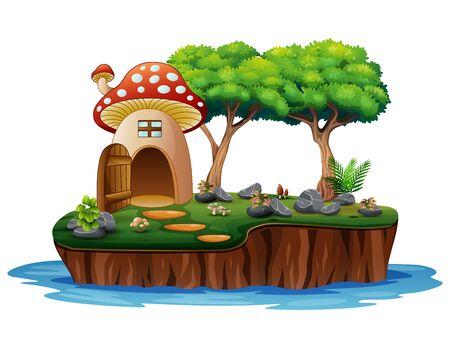 Cartoon of a mushroom house on island Stock Illustratie