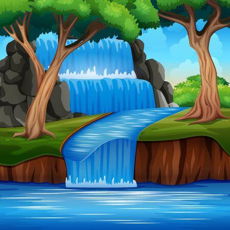 Ein schöner Wasserfalllandschaftshintergrund im Wald Vektorgrafik