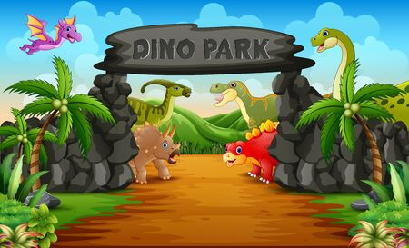 Dinosaurs in a dino park entrance illustration Çizim