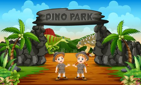 Zookeeper boy and girl on the dino park entrance Çizim