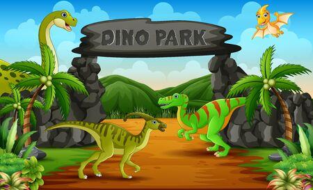 Dinosaurios en una ilustración de entrada al parque dino Ilustración de vector