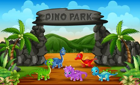 Different baby dinosaurs in dino park illustration Çizim