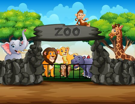 Zoo entrance outdoor view with different cartoon animals 일러스트