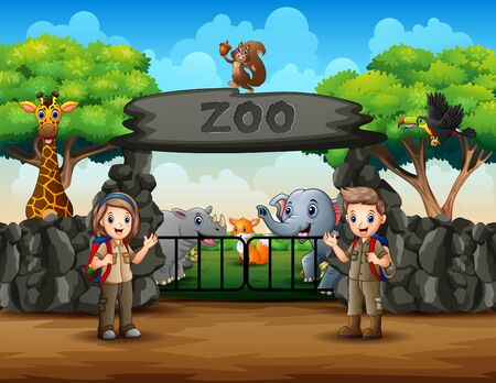 The scouts and wild animals at zoo entrance illustration