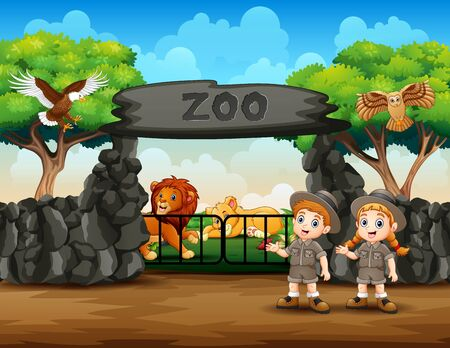 Zookeeper and wild animals at zoo entrance illustration Çizim