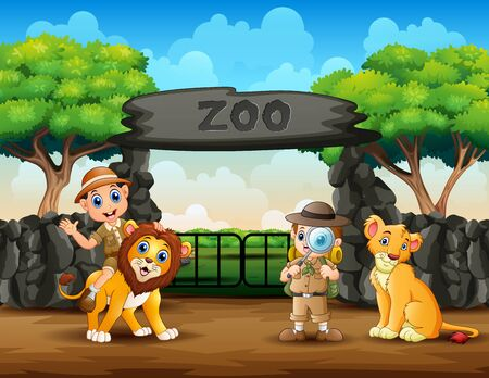 The zookeeper boys and wild animals in the zoo