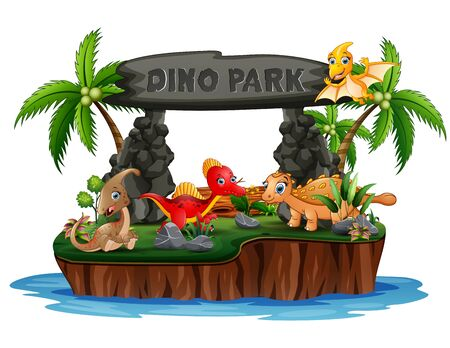 Cartoon a dinosaurs in dino park island