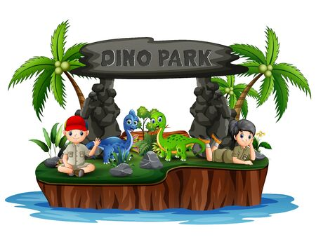 Dino park island with dinosaurs and scout kids