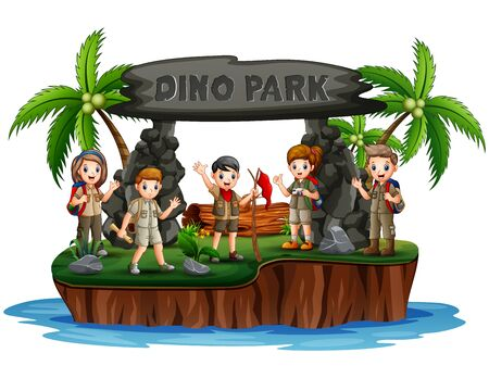 The explorer boys and girls in dino island Çizim