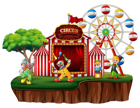 Cartoon clowns in an island with a carnival Stockfoto - 133471711