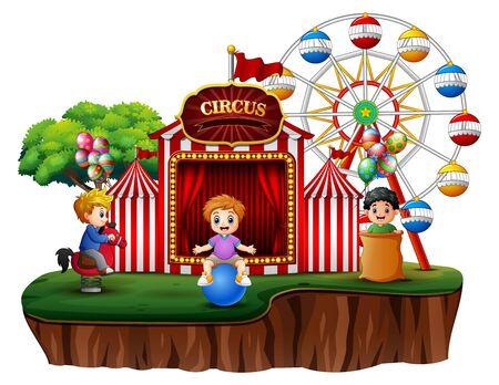 Cartoon children having fun on the amusement Stock Illustratie
