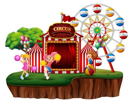 A fun park on island illustration Stockfoto - 133471733
