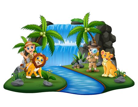 The zookeepers with lions on nature island