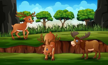 Cartoon reindeer with moose in the green nature