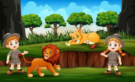 Zookeeper with lions on nature Ilustrace