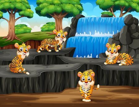 Many tigers cartoon on waterfall background Banque d'images - 133849440