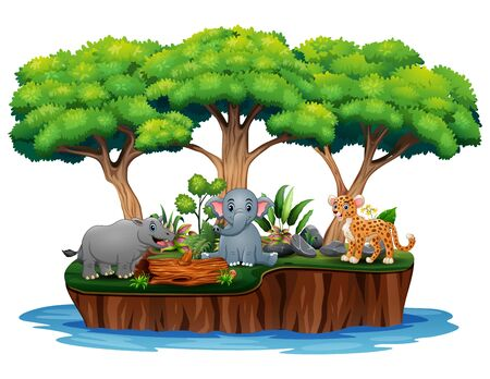 Cartoon nature island with wild animals Banque d'images - 133849448