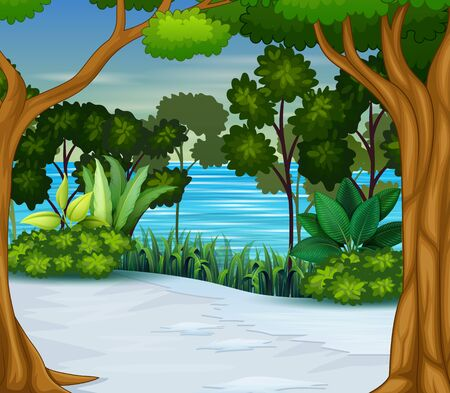 Snow and winter season forest background Illustration