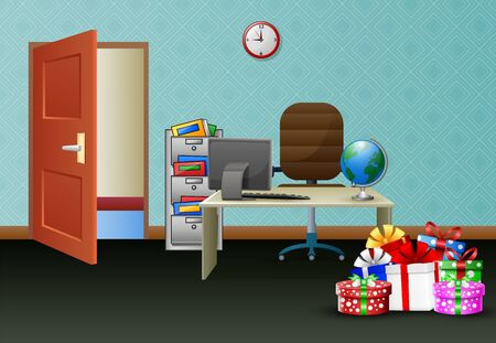 Office room interior with pile of gifts on table Illustration