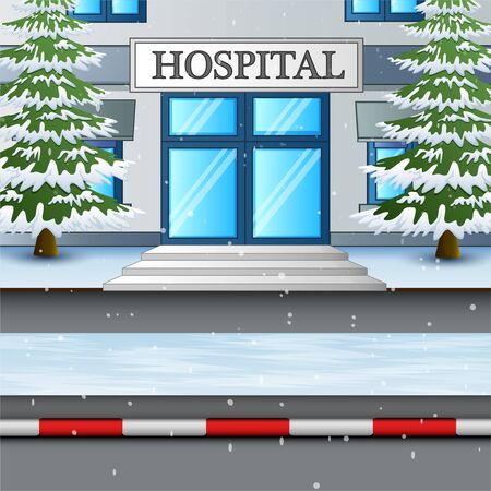 The hospital building in snow winter illustration