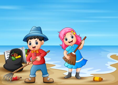 Happy little children cleaning the beach