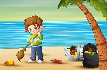 Volunteer man cleaning trash on the beach