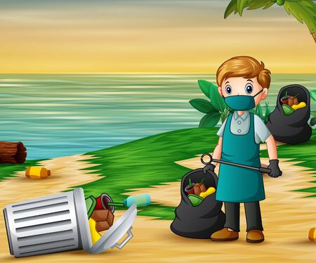 A man cleaning the beach illustration
