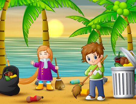 A couple cleaning the beach Ilustracja