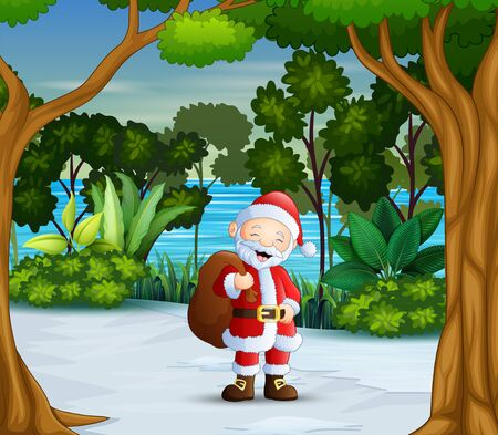 A santa claus in the winter forest