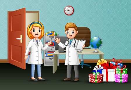 Doctor and nurse happy in christmas celebration