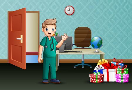 A young surgeon on the office room Illustration