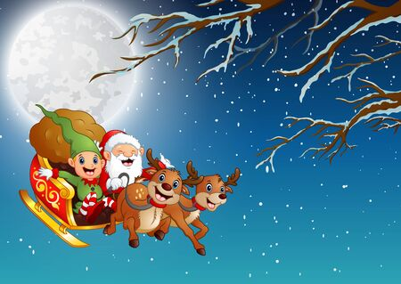Santa Claus and elf riding a sleigh flying at winter night