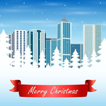 Christmas greeting card with the urban background
