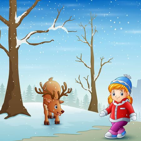 Little girl with deer on the snow field