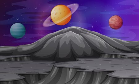 Landscape in the mountains of Mars with other planets Ilustração