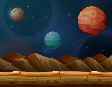 Background scene with many planets in galaxy