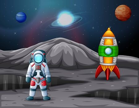 Astronaut and rocket spaceship landed on planet