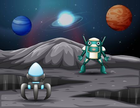A spaceship and robot on space with planets background