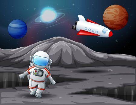 Astronaut landed on planet illustration