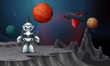 A robot and spaceship in the outer space