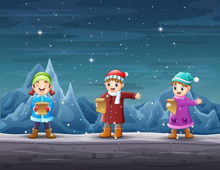 Happy kids singing in the iceberg landscape