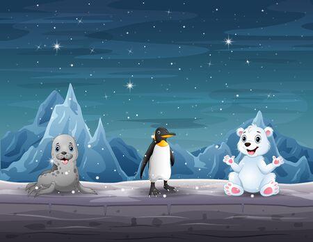 Many animals in the north pole illustration Illusztráció