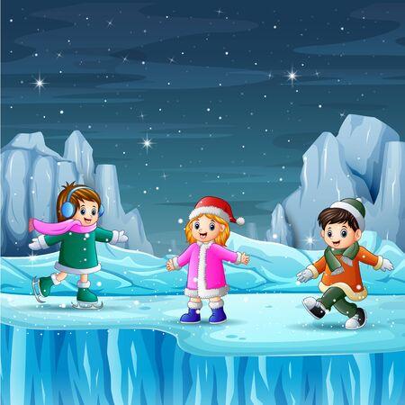 Happy kids playing in the winter Illusztráció