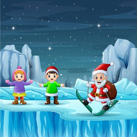 Santa claus with children in christmas night landscape