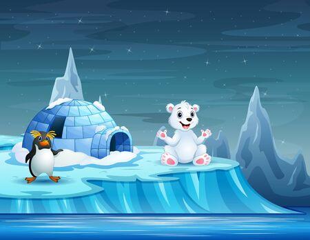 Cartoon animals with igloo ice house