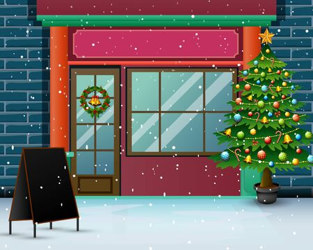 Christmas tree in front the store with snowfall Illustration