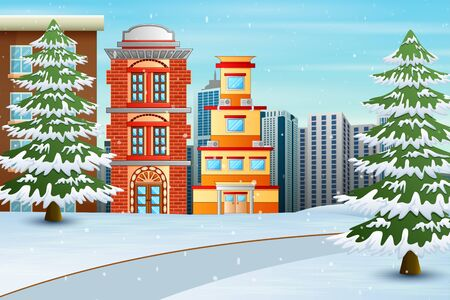 Christmas winter city landscape with buildings