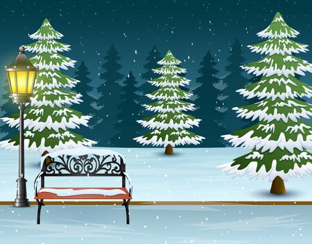 Snow covered bench with street lamp and fir trees background