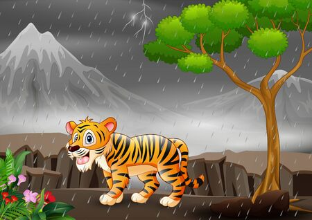 A tiger cartoon under the rain in a forest