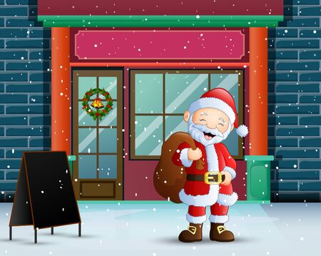 Happy santa claus at christmas with a sack of gifts Illustration
